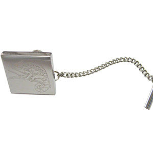 Silver Toned Etched Chameleon Tie Tack